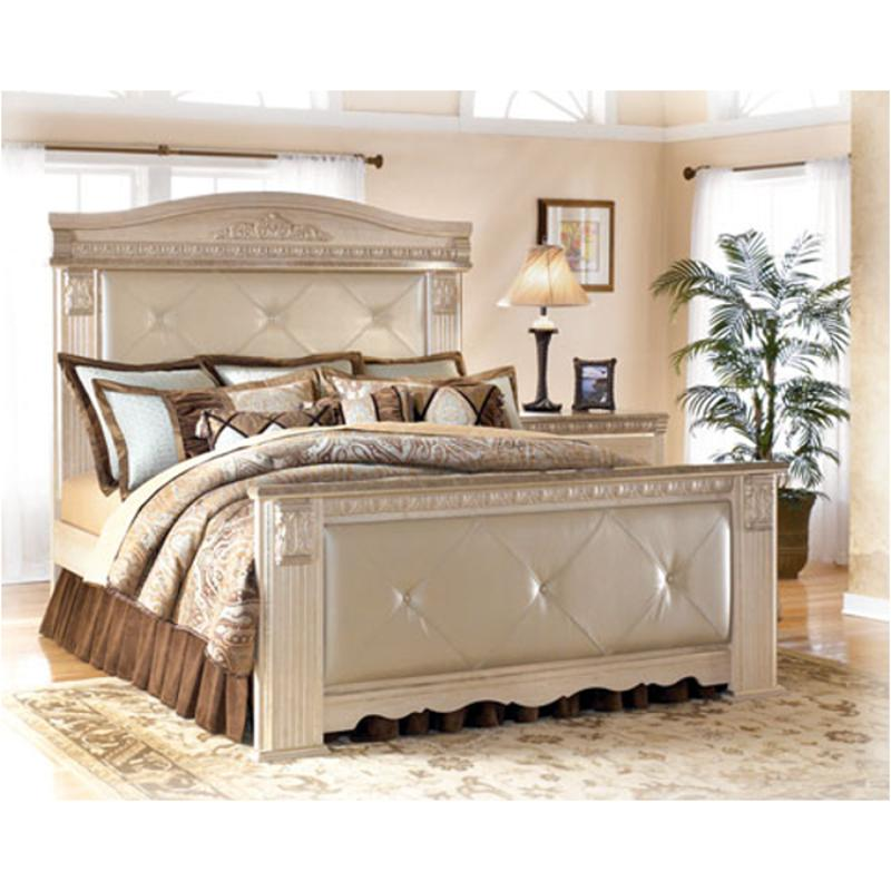 b174 98 ashley furniture silverglade bedroom queen mansion rails. Black Bedroom Furniture Sets. Home Design Ideas