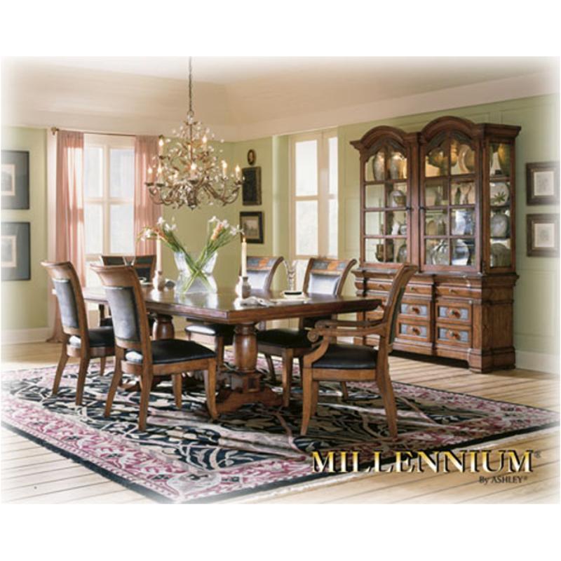 D493-55t Ashley Furniture Rect Ext Ped Tbl Antq Brn Fnsh