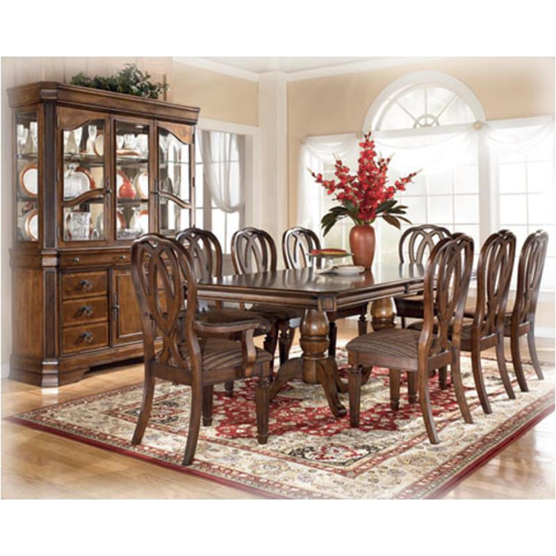 D527-55t Ashley Furniture Rectangular Extension Pedestal Table