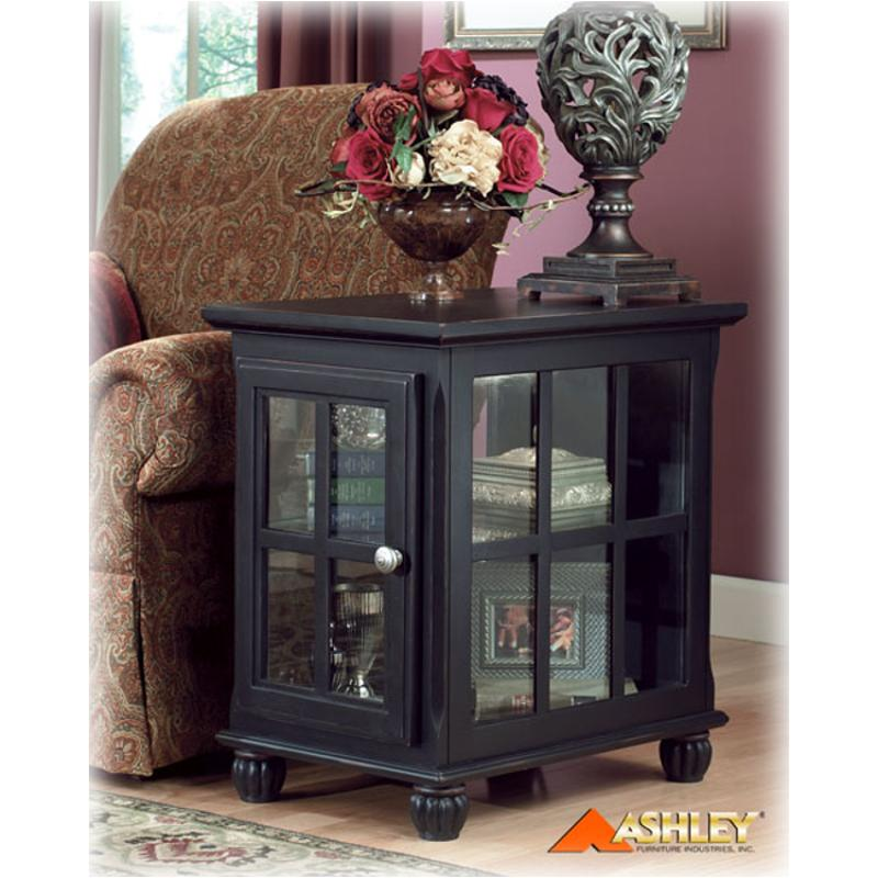 T284 3 Ashley Furniture Concord Vines Curio End Cottage Black Finish