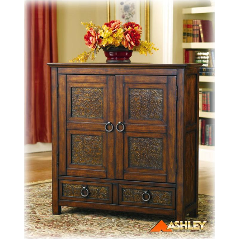 T55320 Ashley Furniture Mckenna Door Accent Cabinet Brnmetal