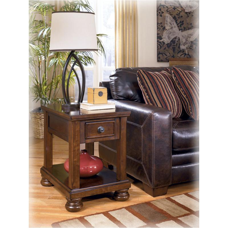 T697 3 Ashley Furniture Porter Rustic Brown Living Room End Table