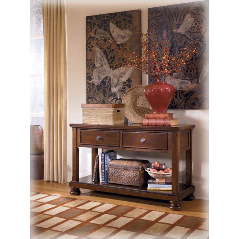 T697-4 Ashley Furniture Porter - Rustic Brown Console Sofa Table