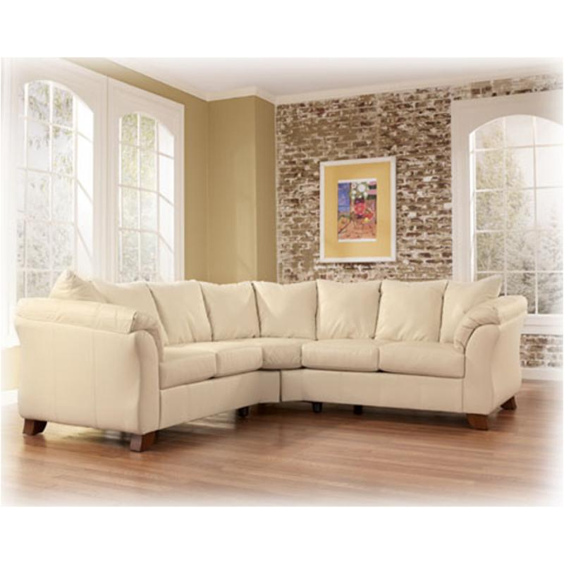 1500255 Ashley Furniture San Marco Durablend   Ivory Laf Loveseat Sectional  W/ Half Wedge