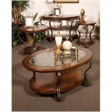T517 6 Ashley Furniture Nestor Medium Brown Round End Table