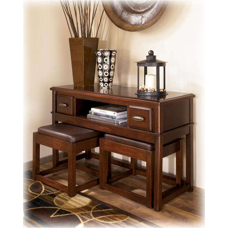 t566 4 ashley furniture lance living room console table w stools. Black Bedroom Furniture Sets. Home Design Ideas