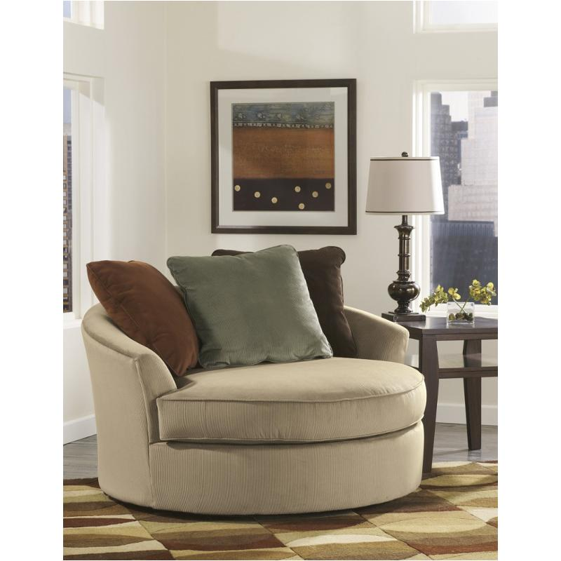7070421 ashley furniture oversized swivel accent chair - Marvelous furniture for living room decoration with various round brown cream leather ottoman ...