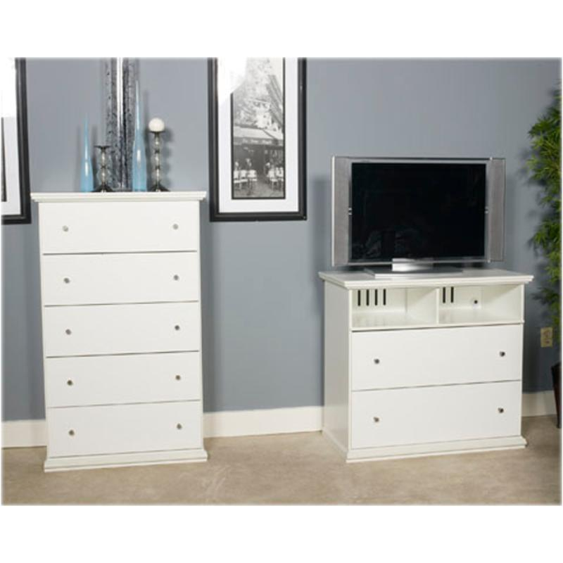 B139-46 Ashley Furniture Bostwick Shoals - White Five Drawer Chest