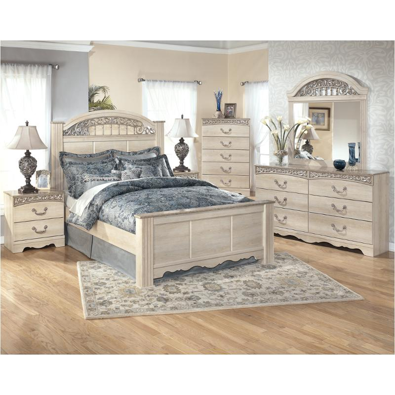 B196-68 Ashley Furniture Catalina - Antique White King Poster Bed
