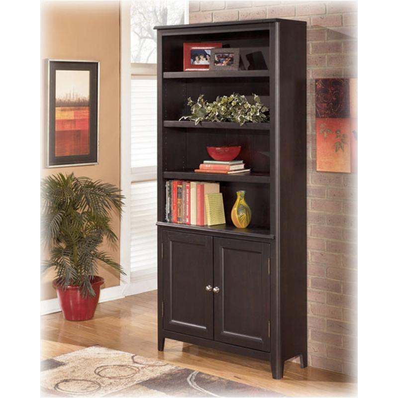 H371 18 Ashley Furniture Carlyle Black Large Door Bookcase