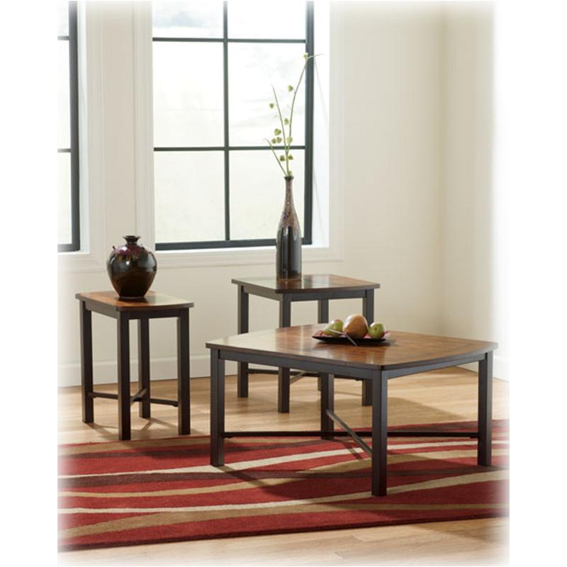 T231 13 Ashley Furniture Fletcher   Reddish Brown Living Room Occasional  Table Set