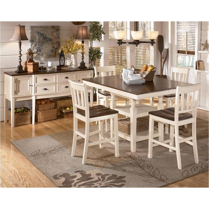D583 32 Ashley Furniture Whitesburg Brown Cottage White Square Dining Room Counter Extension Table