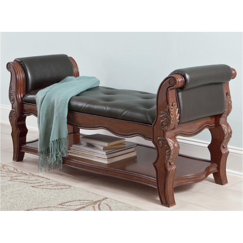 B705 09 ashley furniture ledelle brown upholstered bench - Ashley furniture bedroom benches ...