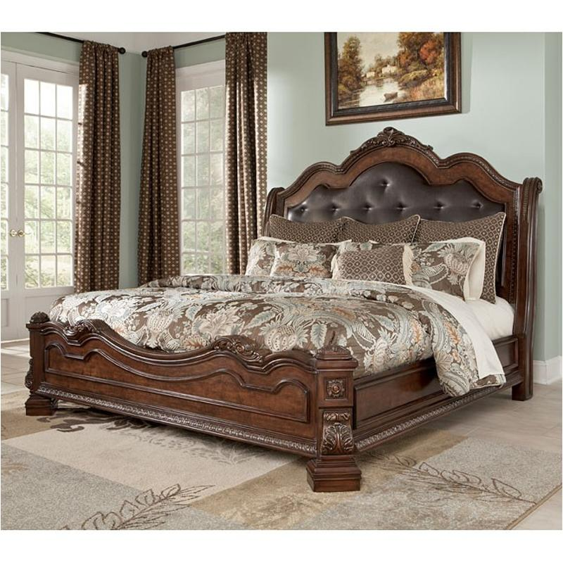 B705 58 ashley furniture ledelle brown bedroom king - King size sleigh bed bedroom set ...