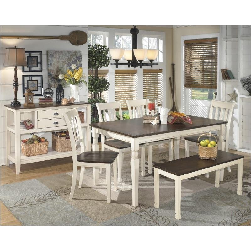 D583 25 Ashley Furniture Whitesburg Brown Cottage White Dining Room Dinette Table