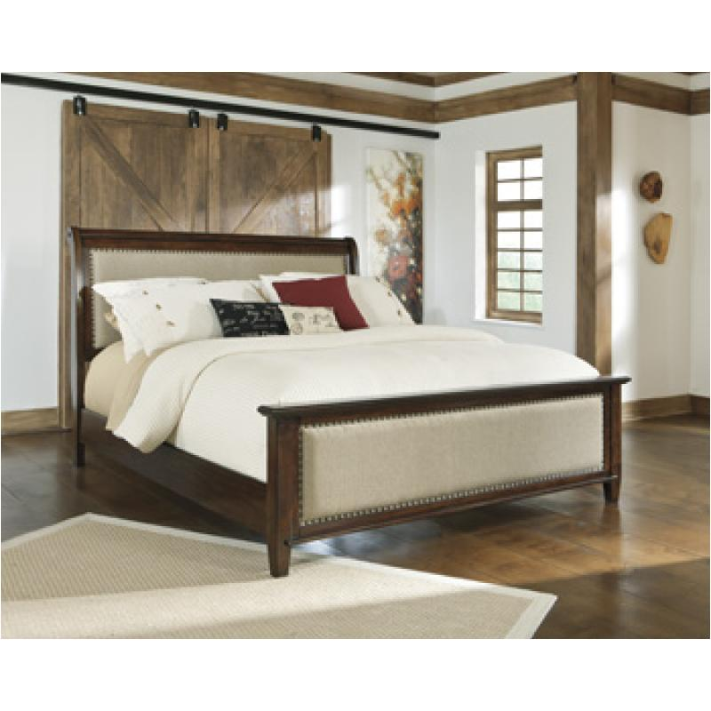 B695 77 ashley furniture queen upholstered sleigh bed for Upholstered sleigh bedroom set