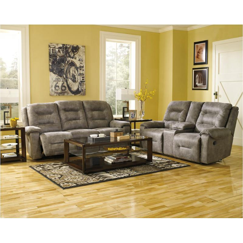 . 9750188 Ashley Furniture Rotation   Smoke Reclining Sofa   Smoke