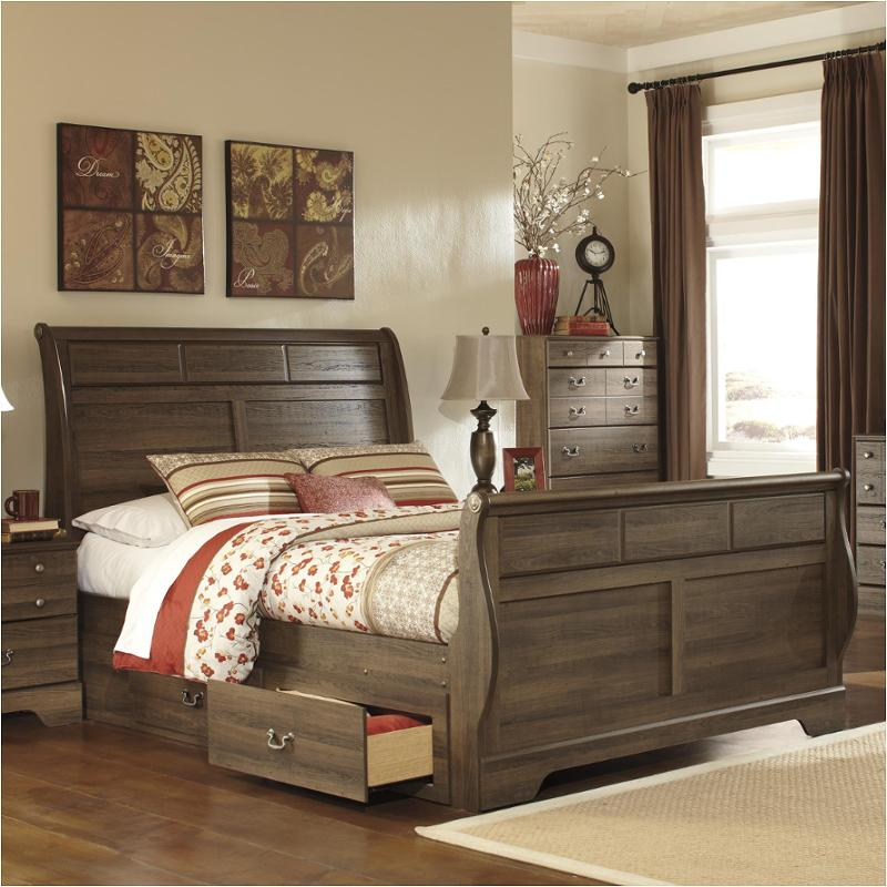 b216-65 ashley furniture allymore - brown queen sleigh bed