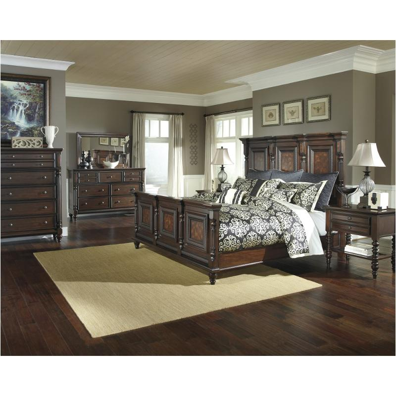 B668 158 ashley furniture key town eastern king mansion panel bed - Key town bedroom set ...