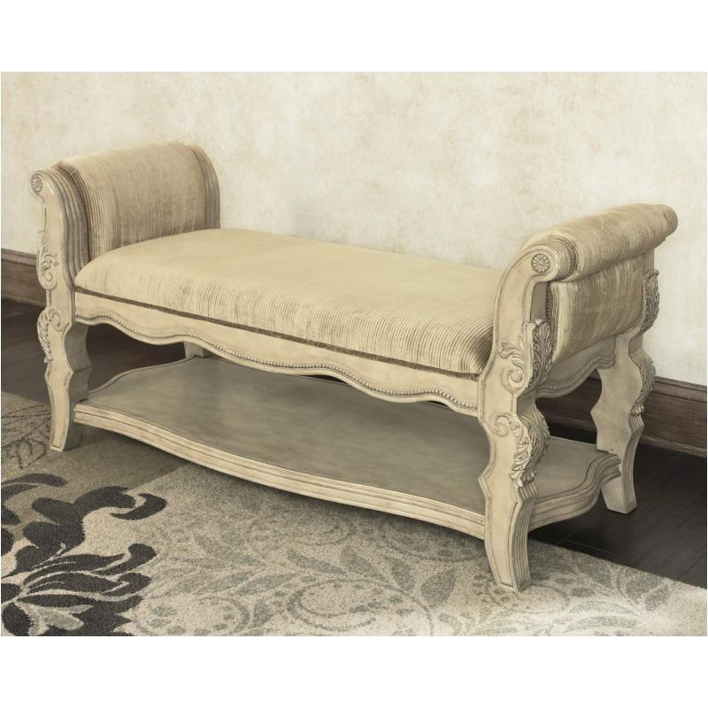 B707 09 ashley furniture ortanique bedroom upholstered bench for Ortanique furniture