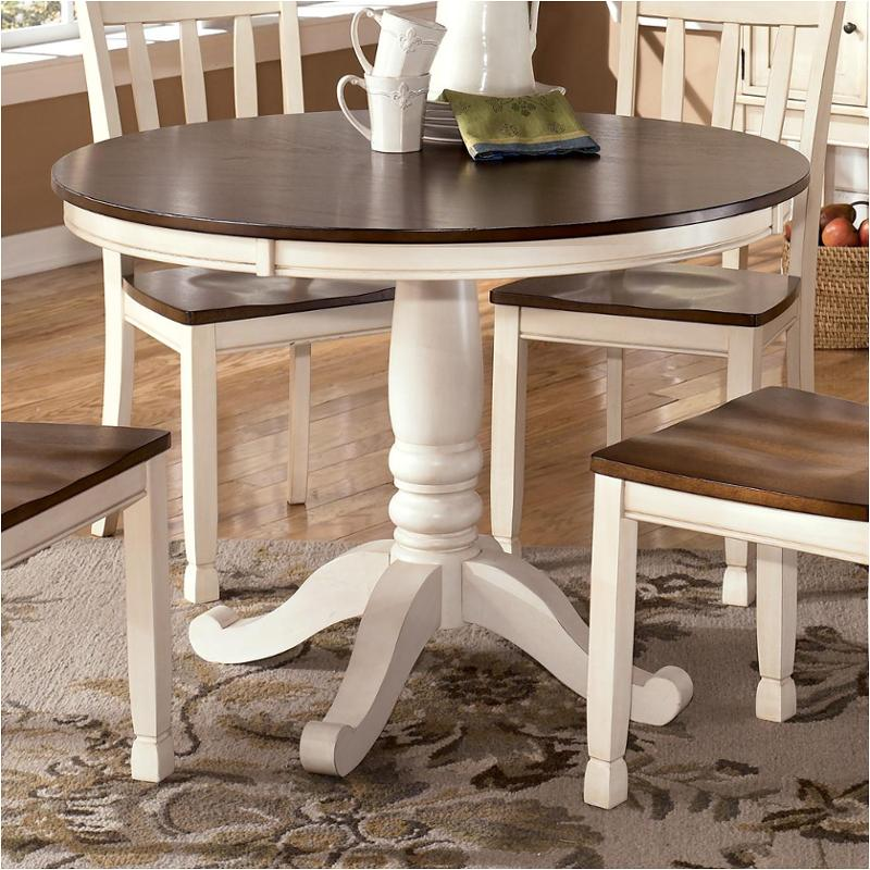 D583 15t Ashley Furniture Whitesburg Brown Cottage White Dining Room Dinette Table