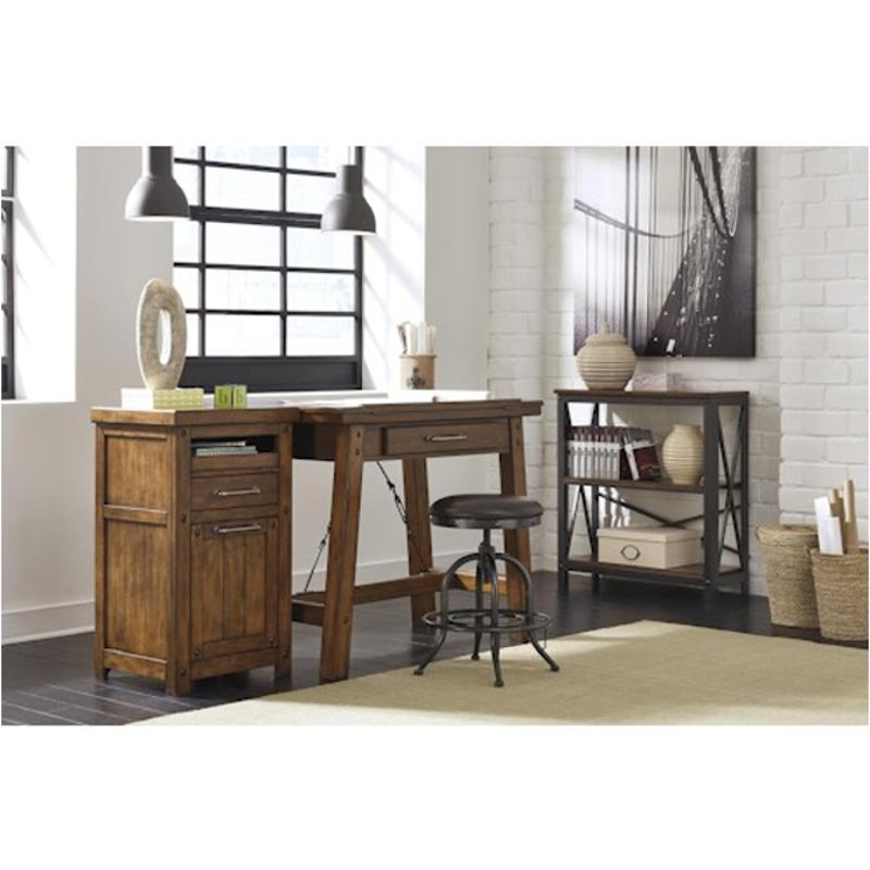 H526 33 Ashley Furniture Shayneville   Rustic Brown Counter Height Drafting  Desk
