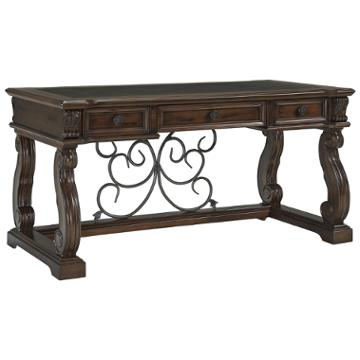 h669-44 ashley furniture alymere - rustic brown home office desk