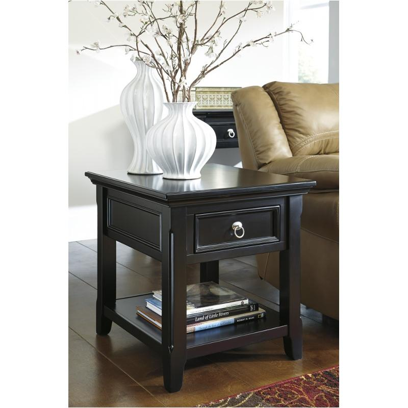 T811-3 Ashley Furniture Greensburg - Black Rectangular End Table