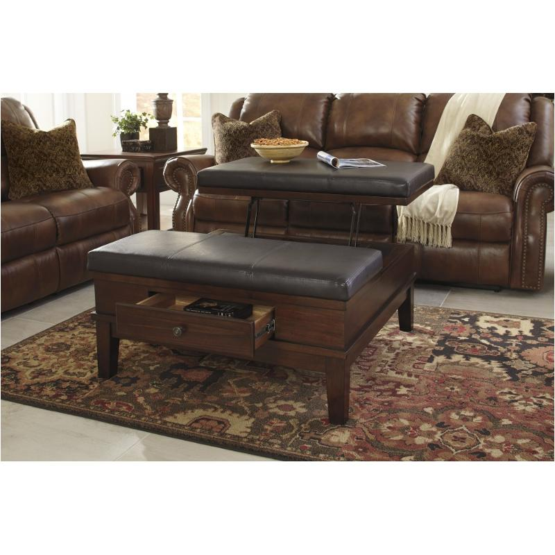 Gentil T845 21 Ashley Furniture Gately   Medium Brown Living Room Cocktail Table