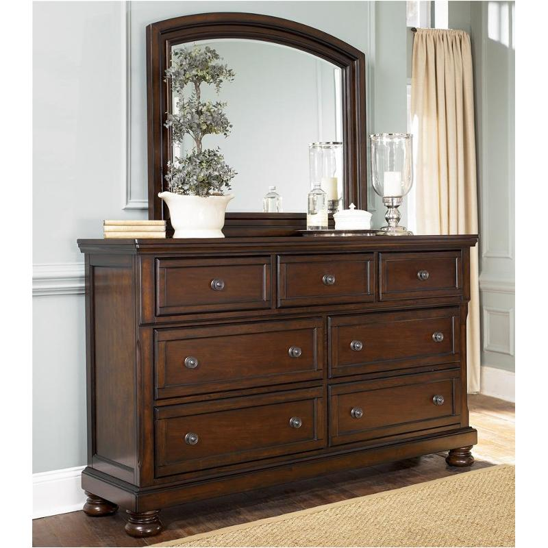 B697 36 Ashley Furniture Porter Rustic Brown Mirror For Dresser
