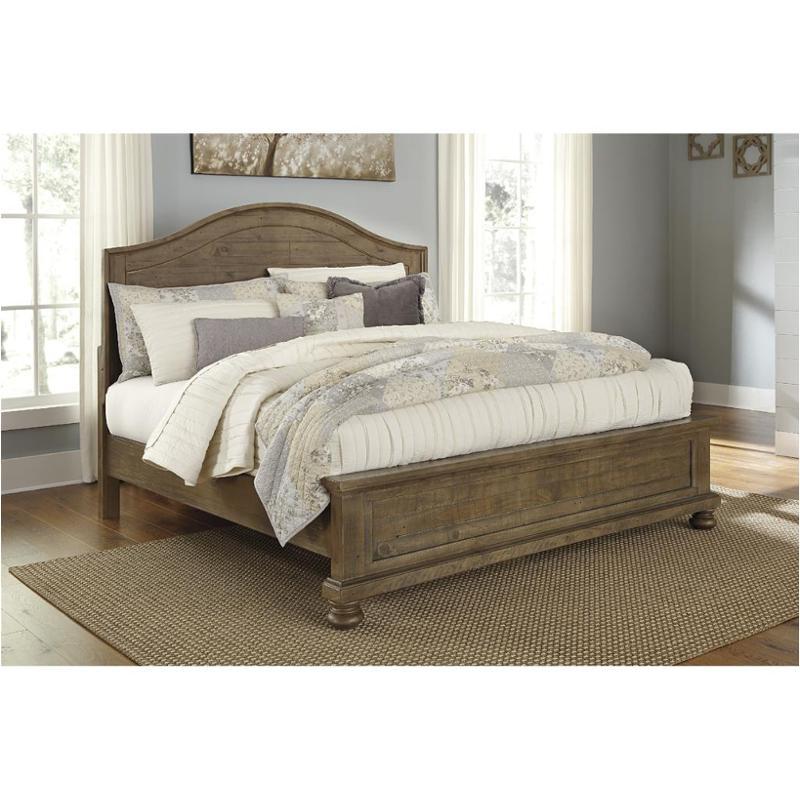 B Ashley Furniture Trishley Light Brown King Panel Bed - Light colored bedroom sets