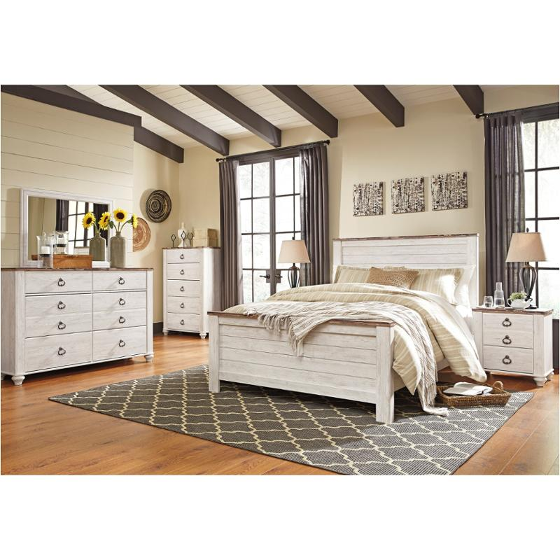 B267 57 Ashley Furniture Willowton Whitewash Bedroom Bed