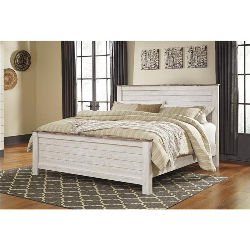 Willowton Whitewash Panel Bedroom Set B267 54 57 98 Ashley White Wash Finish Classic 5pc