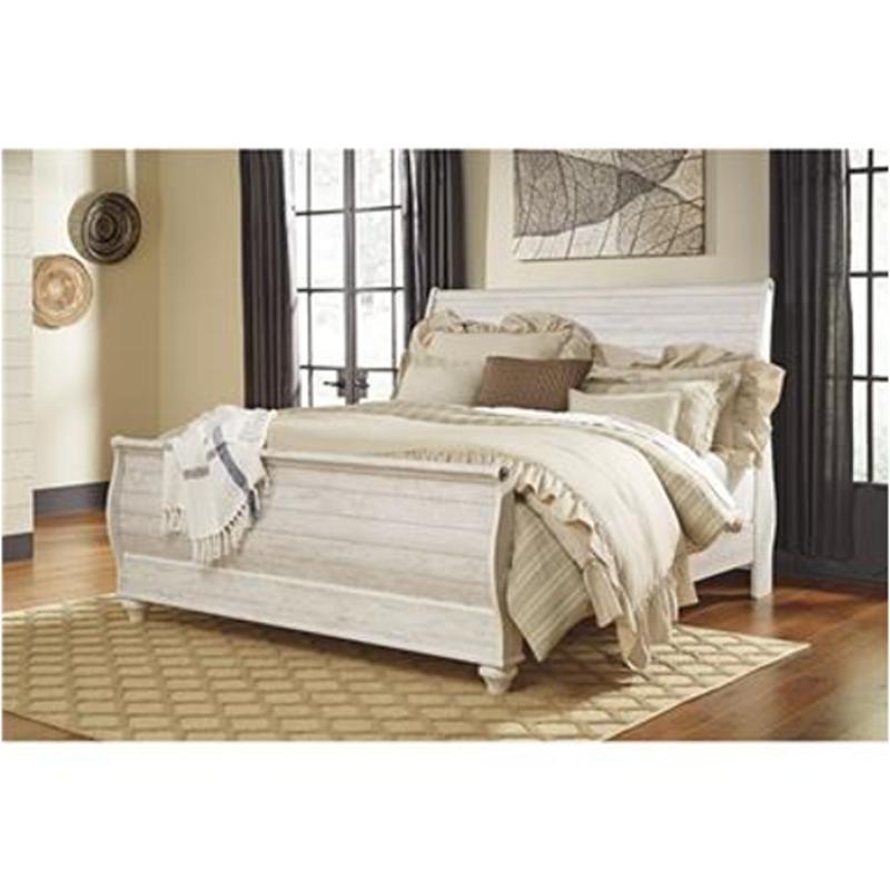 B267-78 Ashley Furniture Willowton - Whitewash King Sleigh Bed