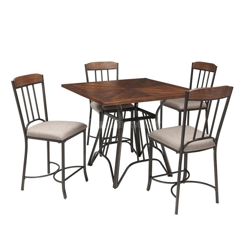 D507 13 Ashley Furniture Zanilly Two Tone Square Dining Room Counter Table