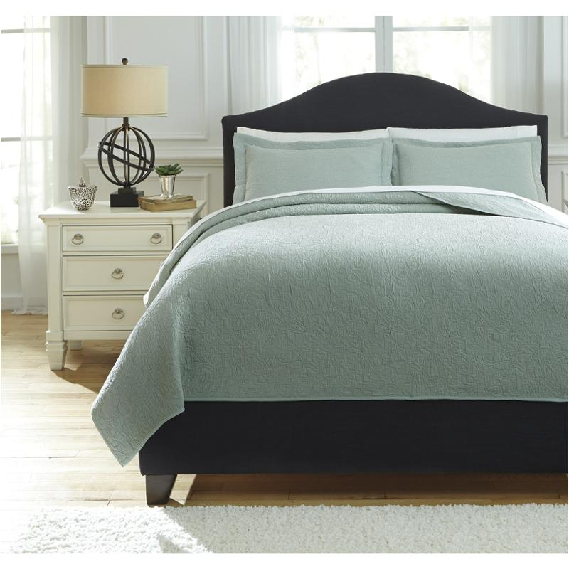Q757023q Ashley Furniture Bazek   Sage Green Bedding Comforter