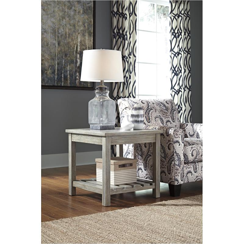 T748 2 Ashley Furniture Veldar Whitewash Living Room End Table