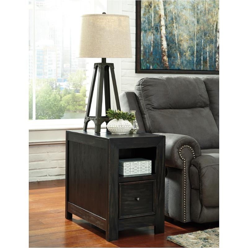 T752 7 ashley furniture chair side end table for Black end tables for living room