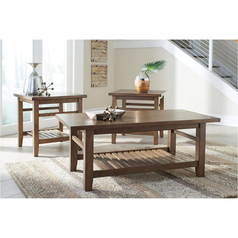 Brown Living Room Tables Sets: T125-13 Ashley Furniture Occasional Table Set