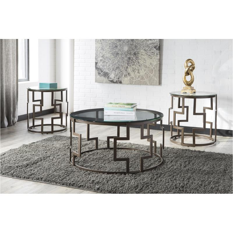 T138-13 Ashley Furniture Frostine - Dark Bronze Finish Living Room Occasional Table Set  sc 1 st  Home Living Furniture & T138-13 Ashley Furniture Occasional Table Set