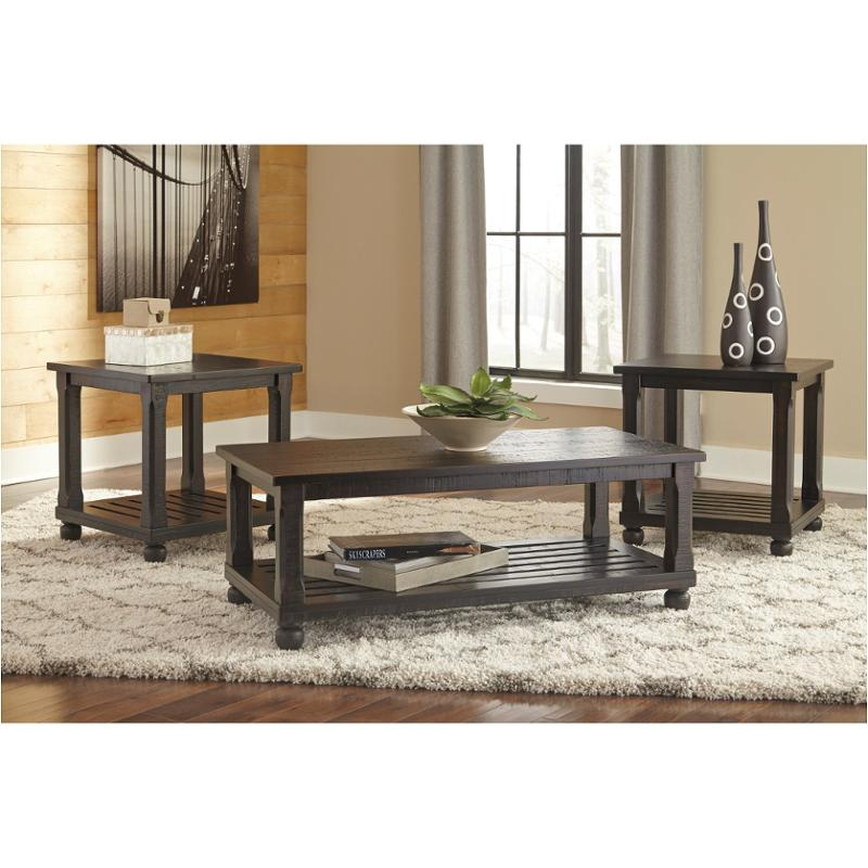 T145 13 Ashley Furniture Mallacar   Black Living Room Occasional Table Set