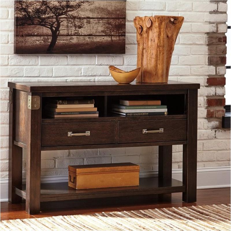 T759-4 Ashley Furniture Haddigan - Dark Brown Console Table