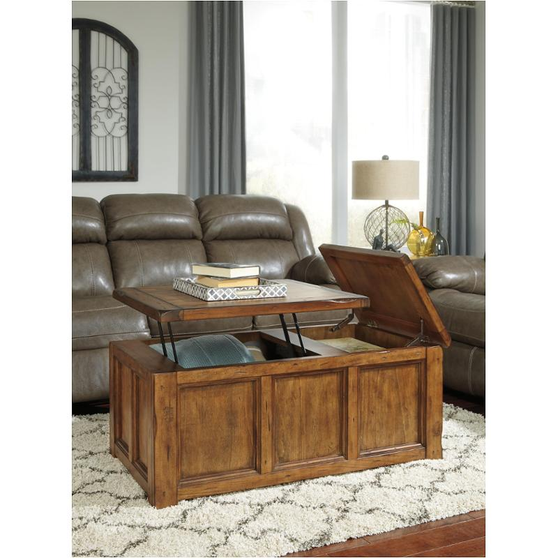 T830-9 Ashley Furniture Tamonie - Medium Brown Living Room Cocktail Table  sc 1 st  Home Living Furniture & T830-9 Ashley Furniture Rectangular Lift Top Cocktail Table