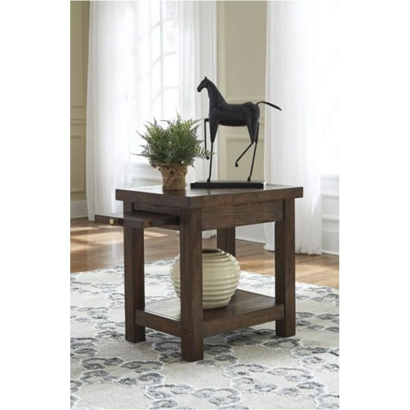 T862 7 Ashley Furniture Windville   Dark Brown Chair Side End Table