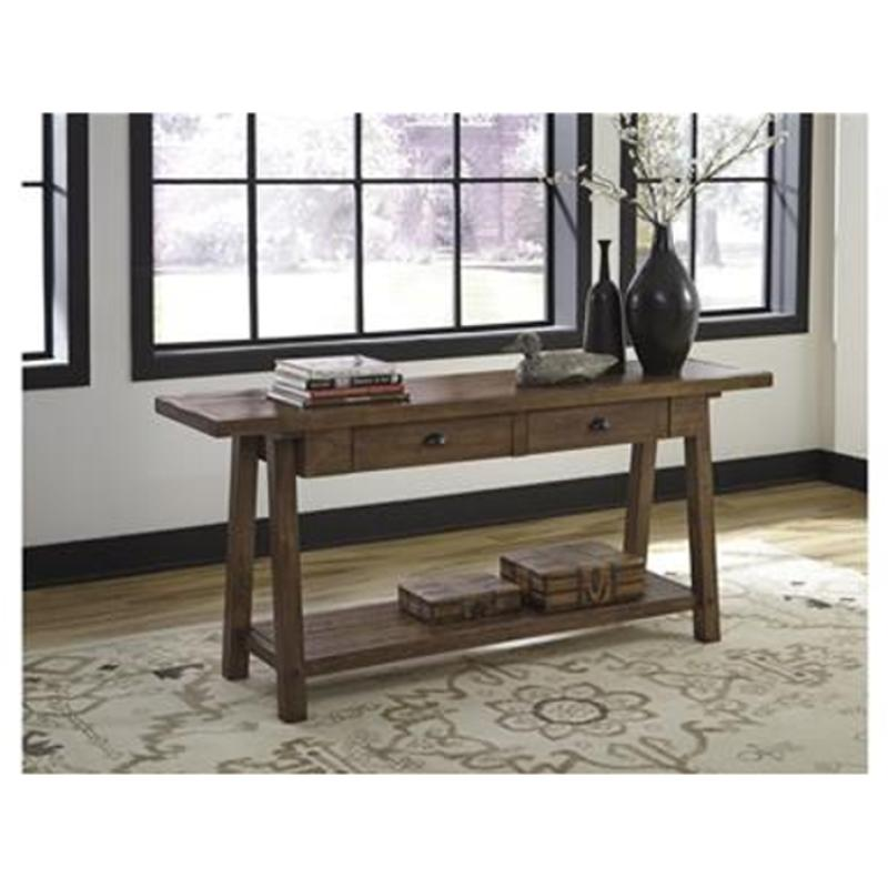 T863-4 Ashley Furniture Dondie - Rustic Brown Sofa Table