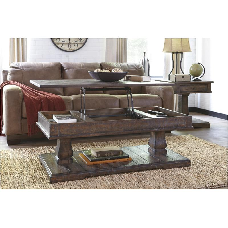 T887 9 Ashley Furniture Zalarah Rustic Brown Living Room Accent Table