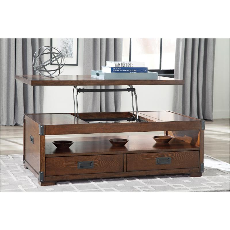 T899 9 Ashley Furniture Jakeley Um Brown Lift Top Tail Table