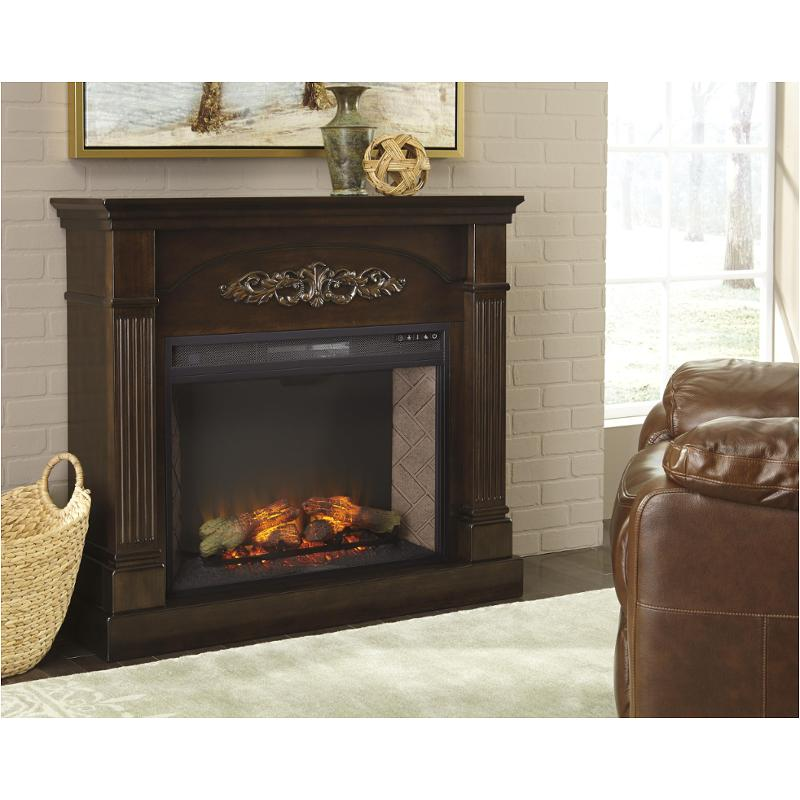 Pleasant W600 120 Ashley Furniture Boddew Dark Brown Cream Fireplace Mantel With Fireplace Insert Home Interior And Landscaping Eliaenasavecom