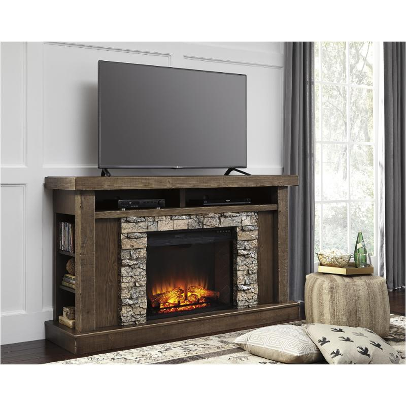 W714 68 Ashley Furniture Tamilo Medium Brown Fireplace Surround