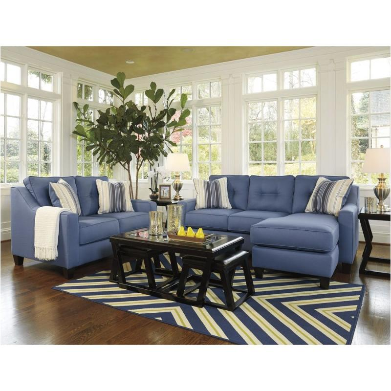 6870318 Ashley Furniture Aldie Nuvella Sofa Chaise - blue